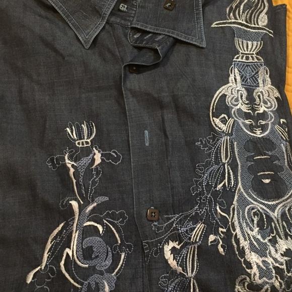 Angelino fof Bermuda Other - Men Detailed Design Denim Shirt!!!